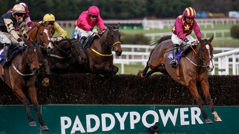 Noel Fehily riding Monalee (R) clear thelast to win the Flogas Novice Chase at Leopardstown