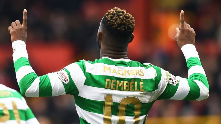 Moussa Dembele celebrates his goal for Celtic against Aberdeen