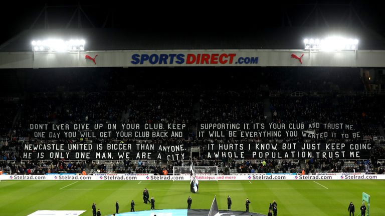 NEWCASTLE UPON TYNE, ENGLAND - JANUARY 31:  General view inside the stadium as fans display a banner prior to the Premier League match between Newcastle Un