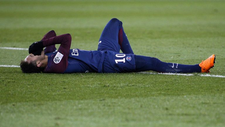 Paris Saint-Germain's Brazilian forward Neymar was injured playing against  Marseille in February