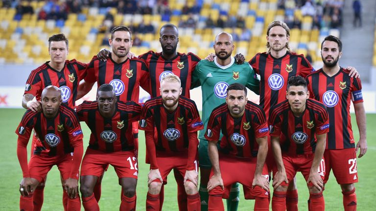 Ostersund's players lining up ahead of their group game against Zorya Luhansk