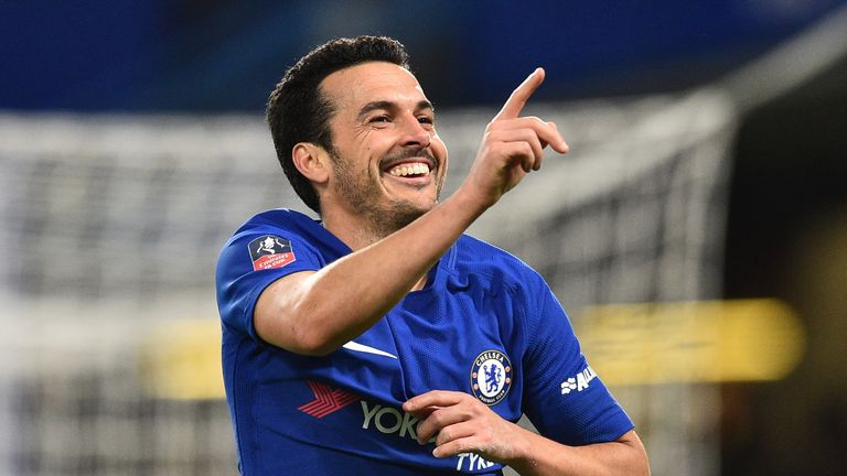 Chelsea's Spanish midfielder Pedro celebrates scoring the team's second goal during the English FA Cup fifth round football match between Chelsea and Hull