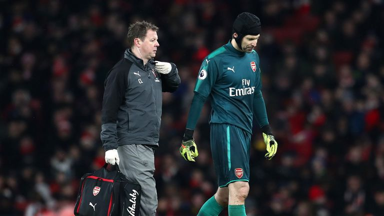 Petr Cech faces a fitness test ahead of Arsenal's trip to Tottenham