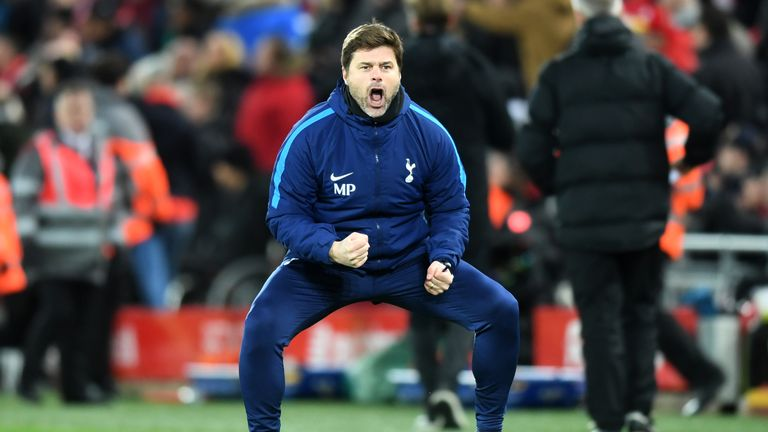 LIVERPOOL, ENGLAND - FEBRUARY 04:  Mauricio Pochettino, Manager of Tottenham Hotspur celebrates his sides second goal during the Premier League match betwe