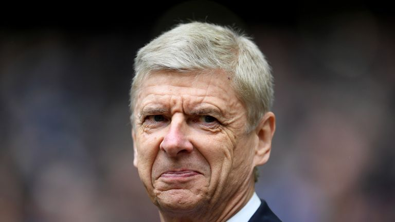 Arsene Wenger looks on prior to the North London derby between Tottenham Hotspur and Arsenal