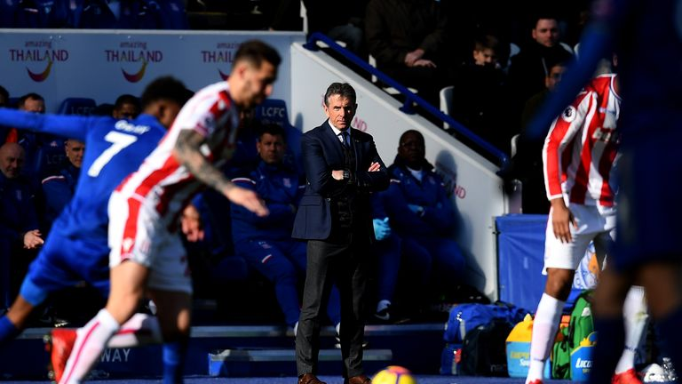 Claude Puel looks on during his side's Premier League match against Stoke