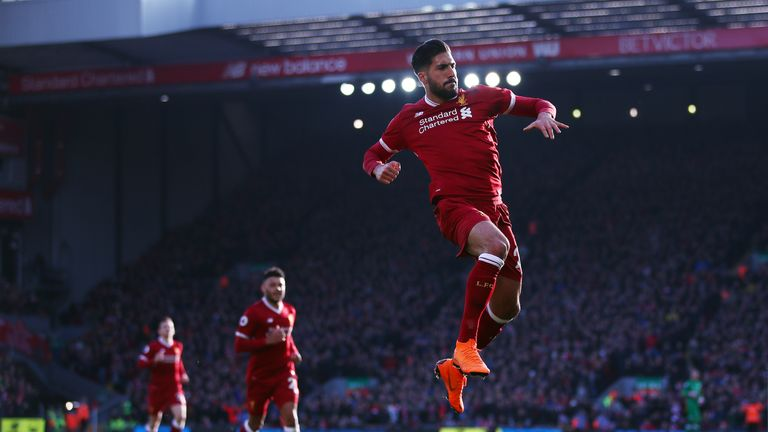 Emre Can celebrates after scoring Liverpool's first goal of the game
