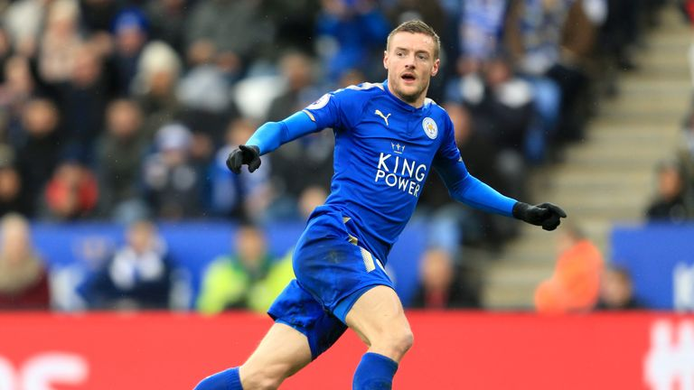 Leicester City's Jamie Vardy celebrates after scoring his sides first goal