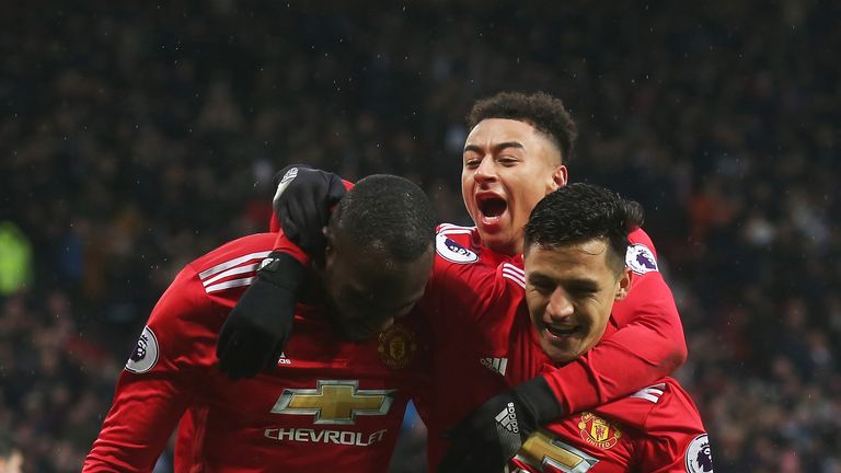 Romelu Lukaku celebrates his goal with team-mates Alexis Sanchez and Jesse Lingard