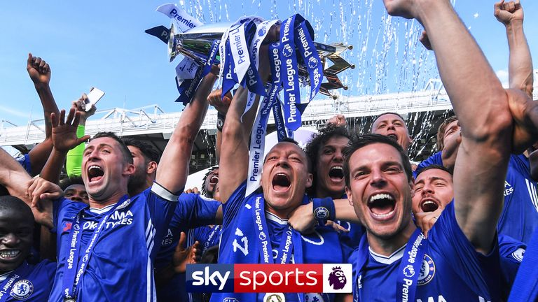 Chelsea hold Premier League trophy - Premier League rights (DO NOT USE ON ANY OTHER STORY)