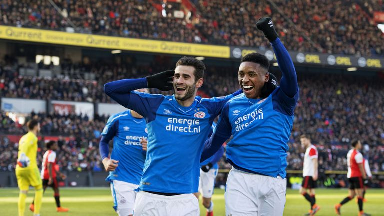 PSV's Gaston Pereiro celebrates his goal during the 3-1 against Feyenoord