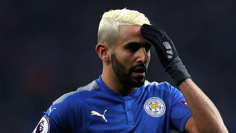 Riyad Mahrez of Leicester City in action during the Premier League match between Leicester City and Burnley at The King Power Stadium