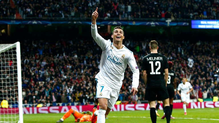 MADRID, SPAIN - FEBRUARY 14:  Cristiano Ronaldo of Real Madrid celebrates scoring the 2nd Real Madrid goal during the UEFA Champions League Round of 16 Fir