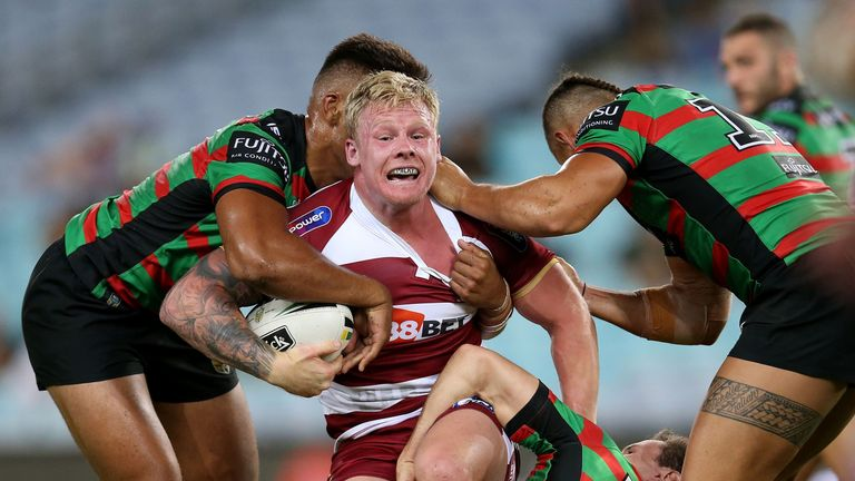 Former Rabbitoh Gabe Hamlin is closed down by the South Sydney defence