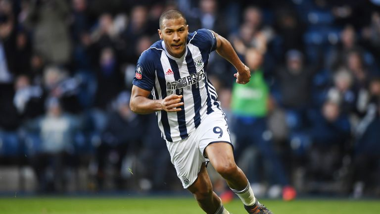 WEST BROMWICH, ENGLAND - FEBRUARY 17:  Jose Salomon Rondon of West Bromwich Albion celebrates scoring his side's first goal during the The Emirates FA Cup
