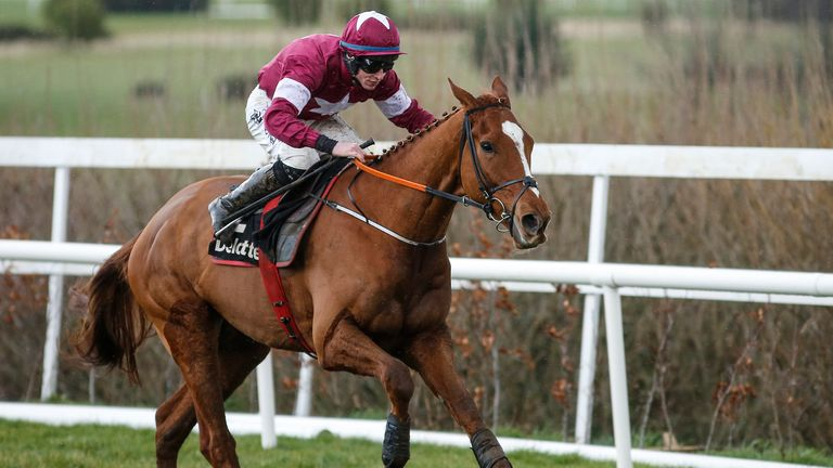Jack Kennedy riding Samcro win the Deloitte Novice Hurdle at Leopardstown