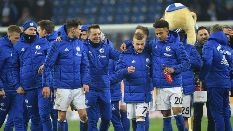 Schalke celebrate reacheing the DFB Pokal final