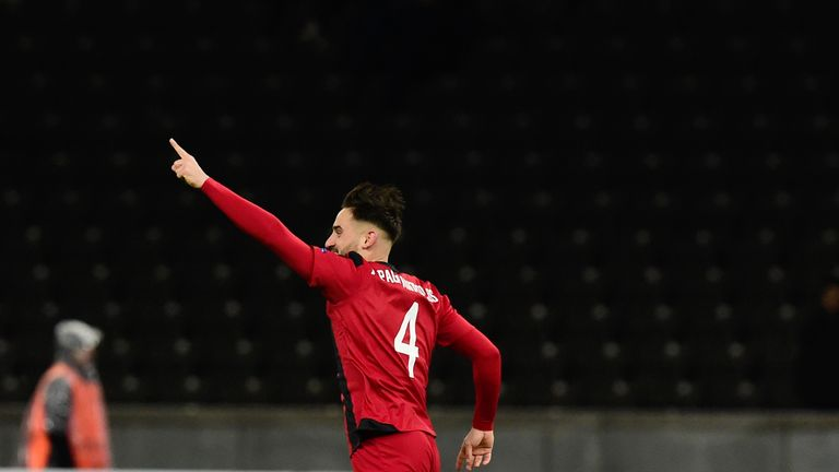 Ostersund's Sotirios Papagiannopoulos celebrates after scored the winner against Hertha Berlin
