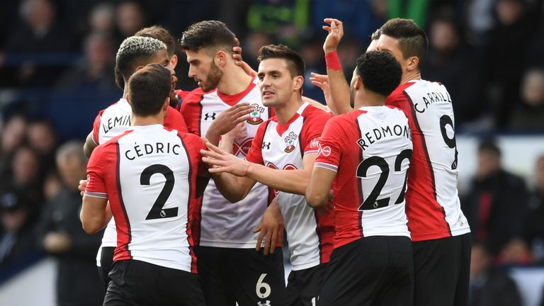 Southampton celebrate Dusan Tadic's strike at West Brom