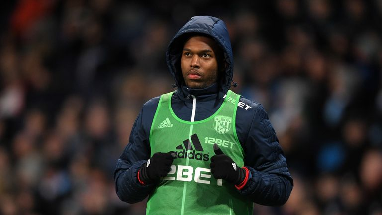 MANCHESTER, ENGLAND - JANUARY 31:  Daniel Sturridge of West Bromwich Albion warms up during the Premier League match between Manchester City and West Bromw