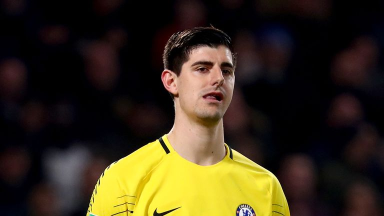 Thibaut Courtois during the Carabao Cup Semi-Final First Leg match between Chelsea and Arsenal at Stamford Bridge