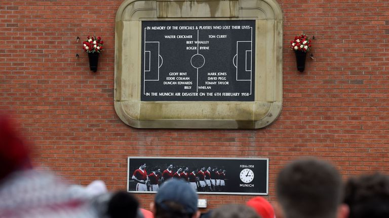 Supporters attended a commemoration service at the permanent memorial for the 1958 Munich Air Disaster