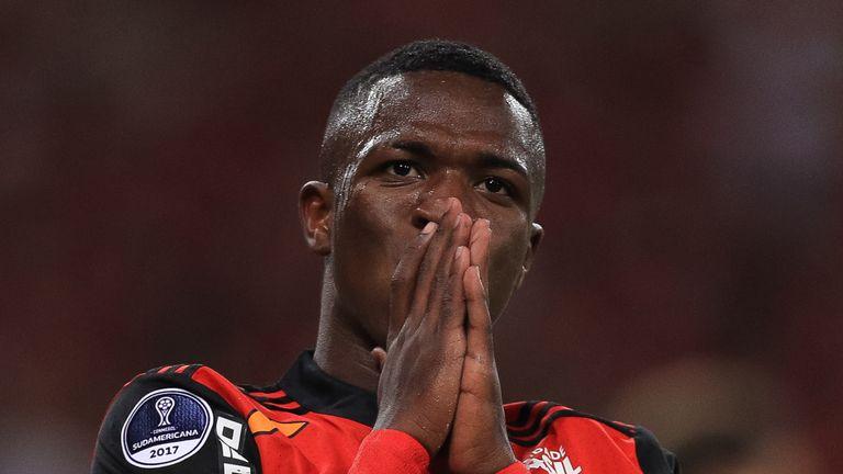 RIO DE JANEIRO, BRAZIL - DECEMBER 13: Vinicius Junior of Flamengo reacts during the second leg of the Copa Sudamericana 2017 final between Flamengo and Ind