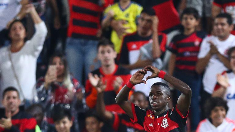 RIO DE JANEIRO, BRAZIL - AUGUST 19: Vinicius Junior of Flamengo celebrates a scored goal during a match between Flamengo and Atletico GO part of Brasileira