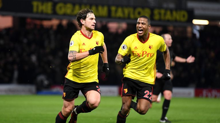 Daryl Janmaat (L) celebrates scoring Watford's second goal