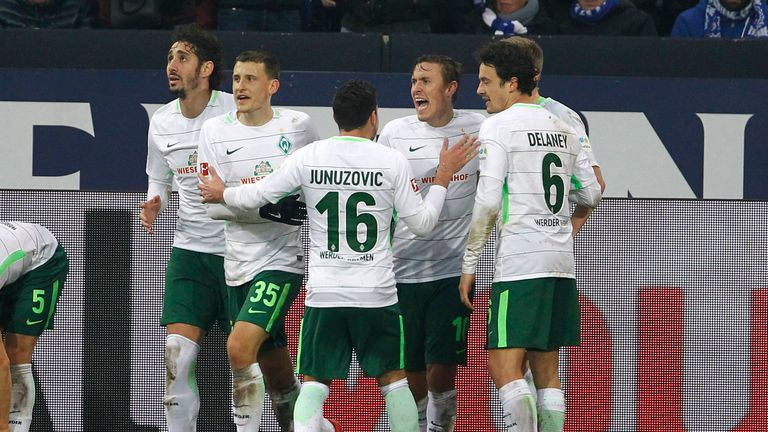 Max Kruse (second right) celebrates with his Werder Bremen team-mates