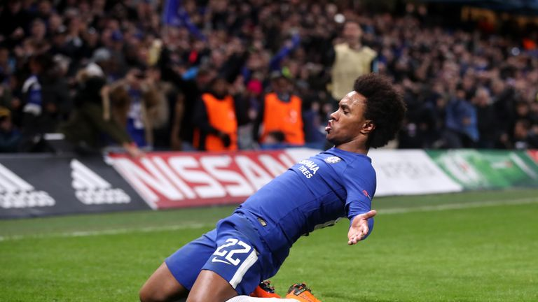 Willian celebrates scoring the opener