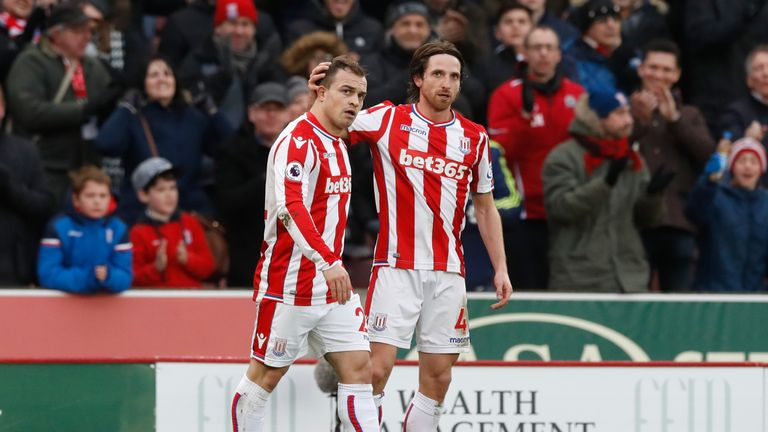 Stoke City's Xherdan Shaqiri (left) is congratulated after equalising