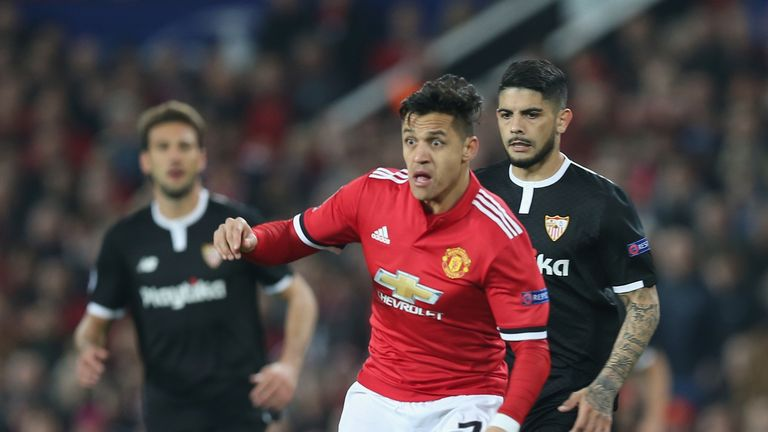 Alexis Sanchez in possession at Old Trafford