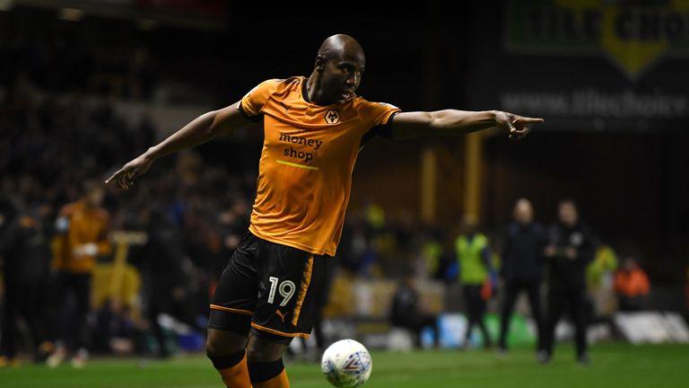 Benik Afobe celebrates scoring Wolves' second goal