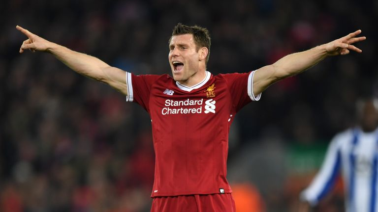 James Milner in action at Anfield