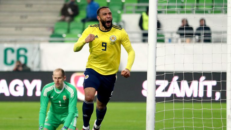 Matt Phillips celebrates after putting Scotland ahead in Hungary