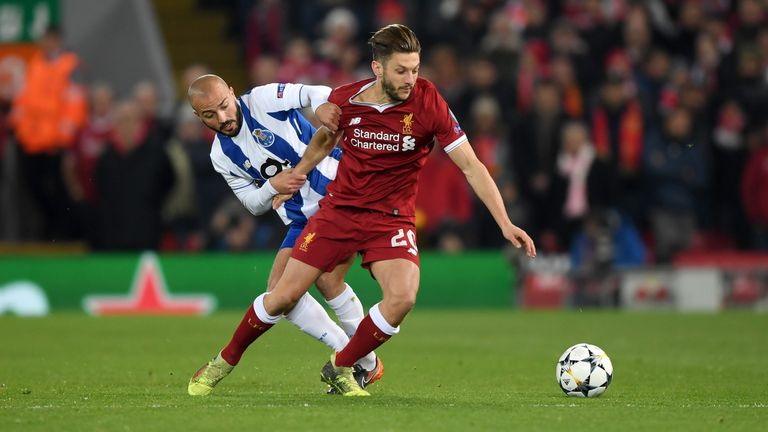 Adam Lallana in action during the UEFA Champions League Round of 16 Second Leg match between Liverpool and FC Porto at Anfield on March 6, 2018