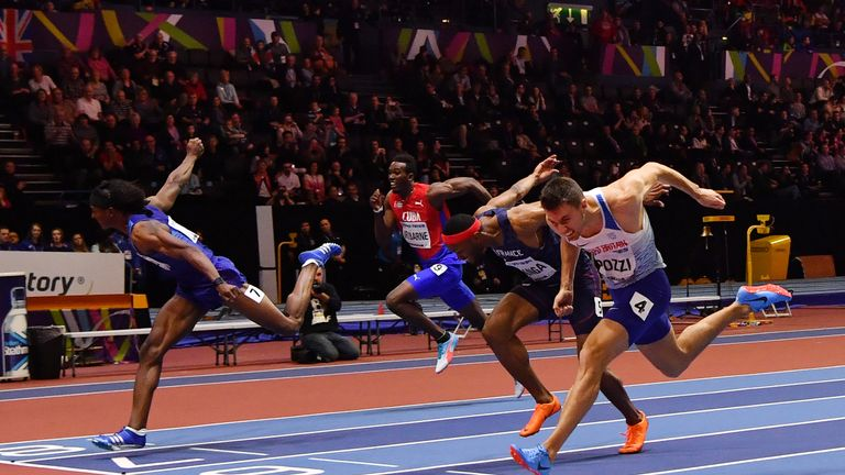 It was a desperate late dip for Pozzi in the 60m hurdles final