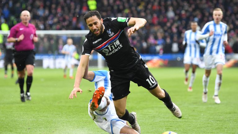 Andros Townsend was fouled by Mathias Jorgensen to win a penalty for Crystal Palace