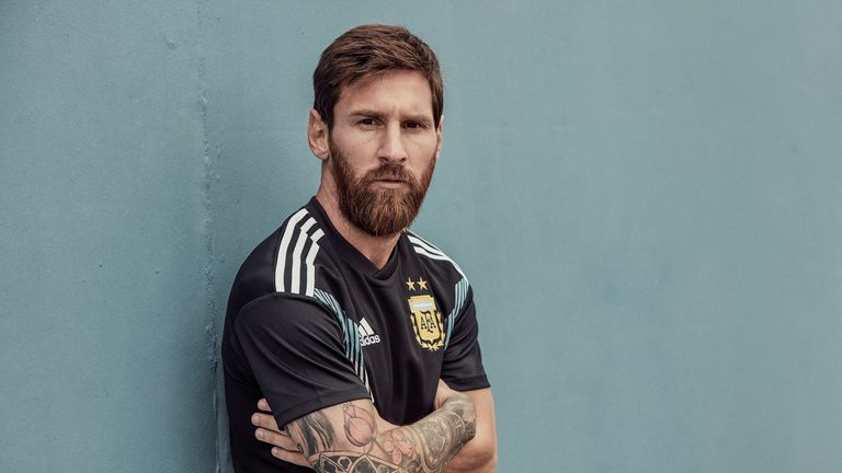 fa17d2f94 Lionel Messi models the new Argentina World Cup 2018 away shirt (credit   adidasUK)