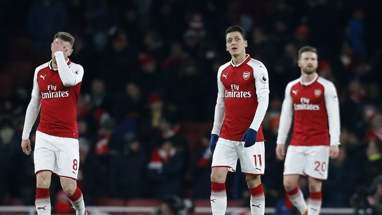 Arsenal players react to going behind at home to Manchester City