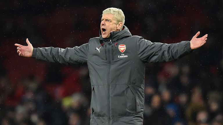 Arsene Wenger gestures on the touchline during the Premier League match between Arsenal and Manchester City at the Emirates Stadium in London on March 1, 2018