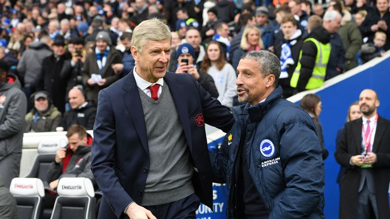 during the Premier League match between Brighton and Hove Albion and Arsenal at Amex Stadium on March 4, 2018 in Brighton, England.