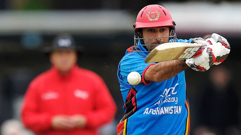Asghar Stanikzai in action during the ICC World Cup Qualifer