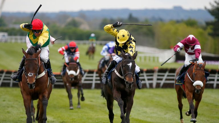 NAAS, IRELAND - APRIL 28:  Patrick Mullins riding Bacardys (C, yellow/black) clear the last to win The Tattersalls Ireland Champion Novice Hurdle Race fromFinian...s Oscar (L, red cap) at Punchestown racecourse on April 28, 2017 in Naas, Ireland. (Photo by Alan Crowhurst/Getty Images) *** Local Caption *** Patrick Mullins;Bacardys