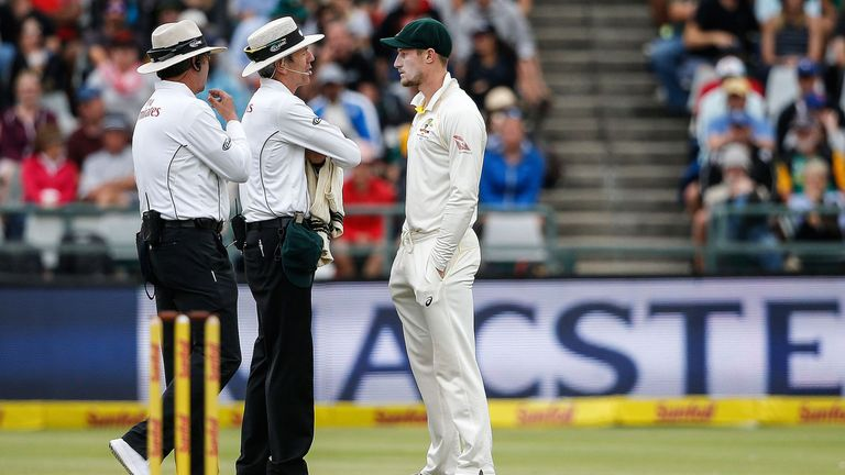 Bancroft is questioned by umpires Richard Illingworth and Nigel Llong