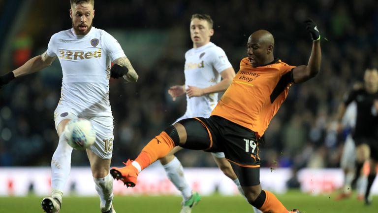 Wolves' Benik Afobe scores for Wolves against Leeds United at Elland Road