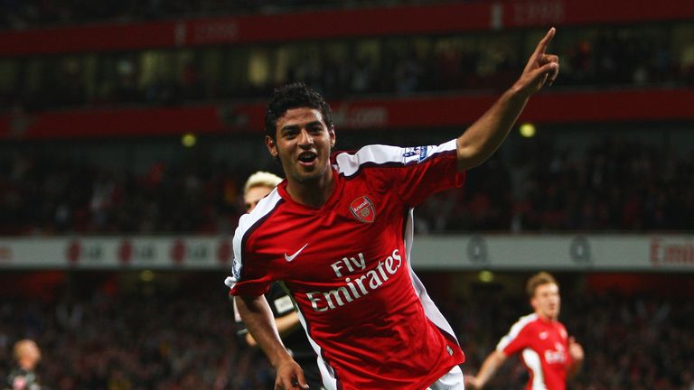 Carlos Vela celebrates a hat-trick against Sheffield United in 2008