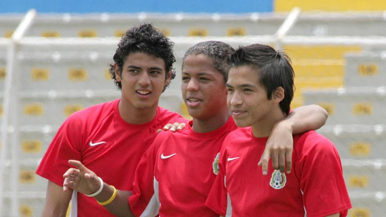 Carlos Vela (left) pictured with Mexico at the 2005 U17 World Cup