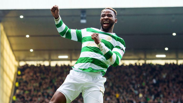 Celtic's Moussa Dembele celebrates after he makes it 2-2 against Rangers